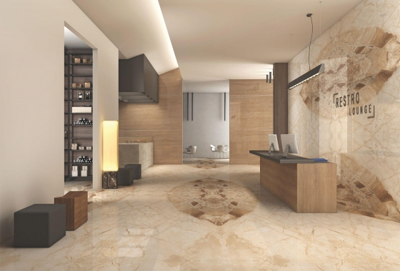 2400 x 1200 mm glossy large format porcelain slab